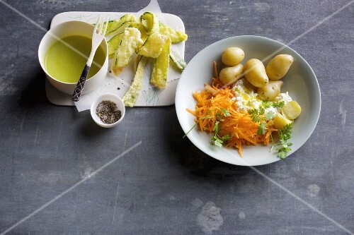 Courgette tempura with wasabi mayonnaise, and new potatoes with raw carrots