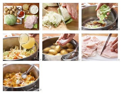 Potato and white cabbage ragout with ham being made