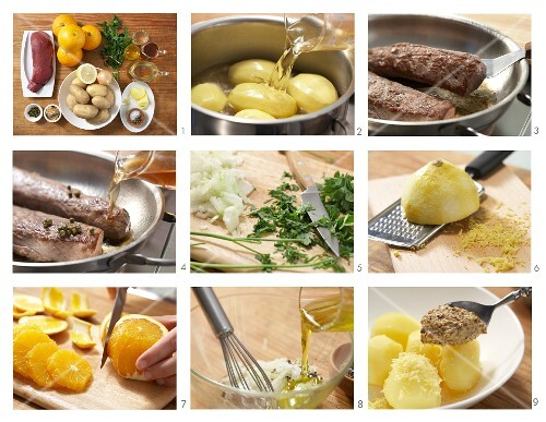 How to prepare thick flank of venison with orange and mustard potatoes