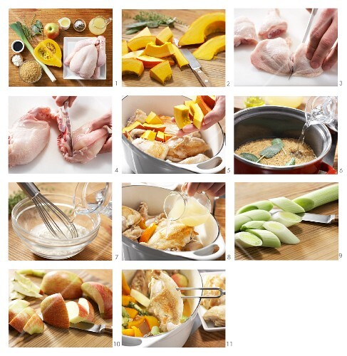 How to prepare Hokkaido pumpkin & chicken hotpot with apples and sage