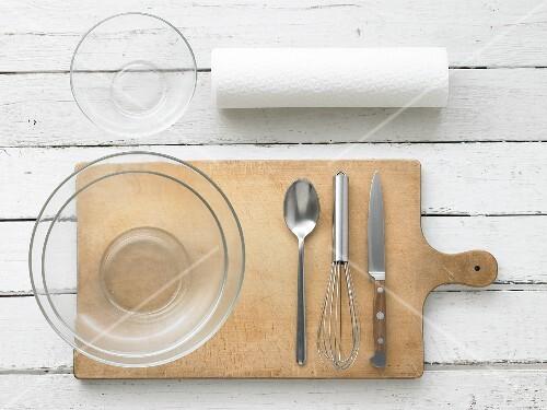 Kitchen utensils for making fruit salad