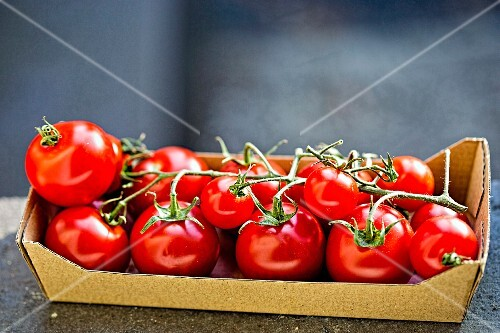 Vine tomatoes in a cardboard punnet
