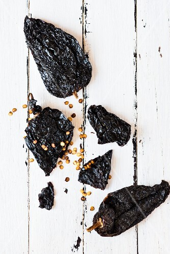 Dried ancho chillis (seen from above)
