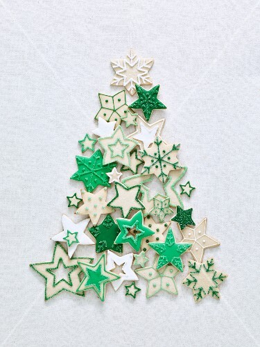Grün-weisse Weihnachtsstern-Plätzchen