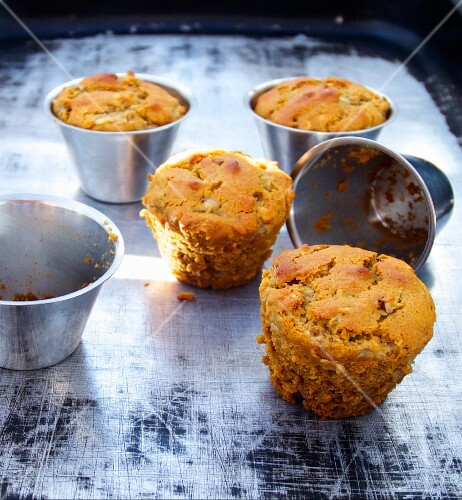 Muffins in baking tins