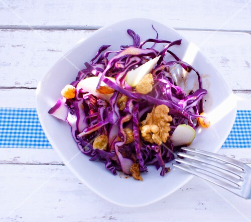 Red cabbage and apple salad with walnuts