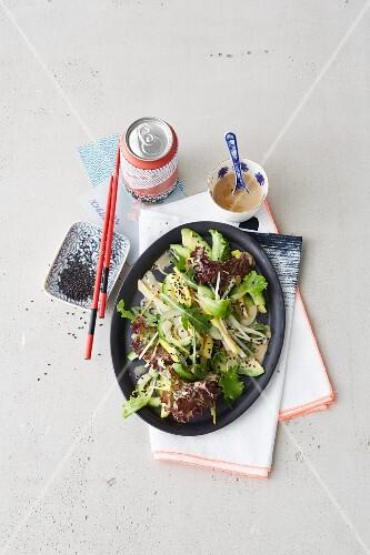 Wasabi salad with cucumber and black sesame seeds (Japan)