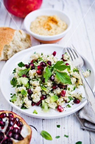 Quinoa with cucumber, pomegranate and parsley