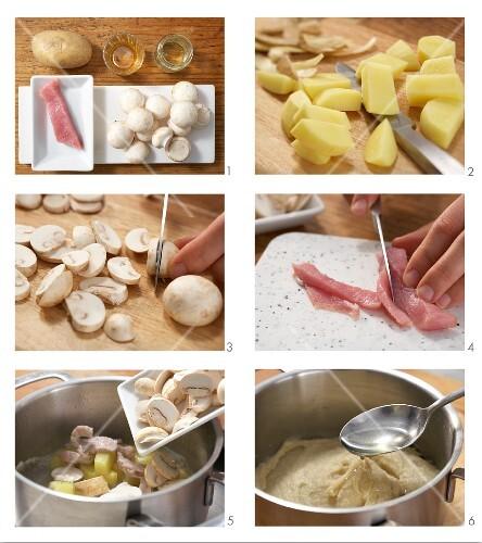 Potato and mushroom purée with pork being made
