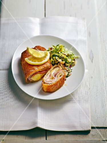 Cordon bleu from saddle of veal with endive & apple salad