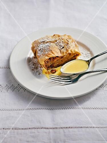 Bavarian apple strudel with vanilla sauce