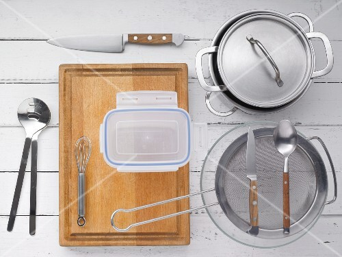 Kitchen utensils for preparing pasta salad