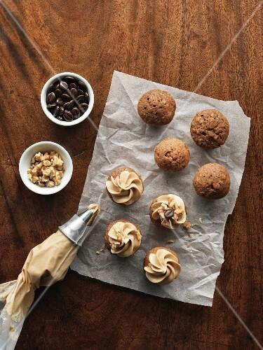 Mini coffee, walnut and banana cakes
