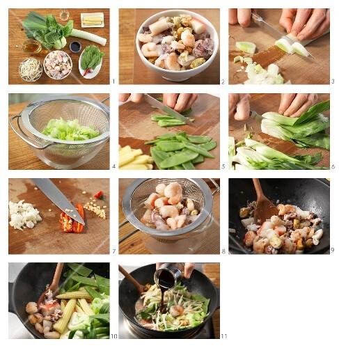 How to prepare seafood stir-fry