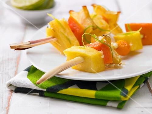 Glazed fruit kebabs