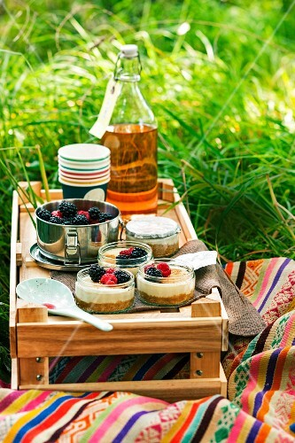 Small lemon cheesecakes with berries for a picnic