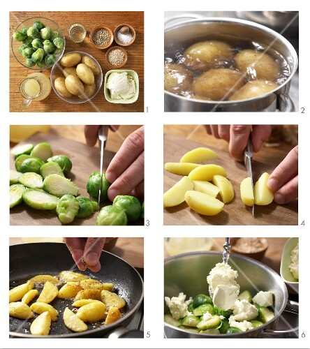 How to prepare Brussels sprout purée with sesame seed potatoes