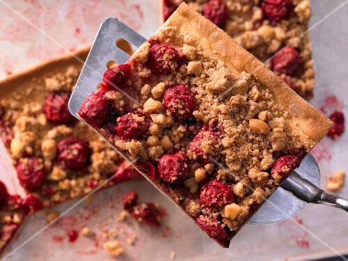 Cherry streusel (crumble) cake with cashew nuts
