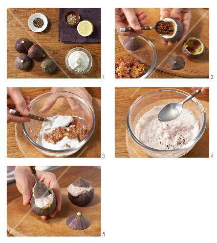 Stuffed figs with hazelnut quark being made