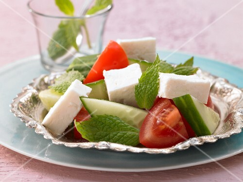 A Turkish breakfast with sheep's cheese and fresh mint