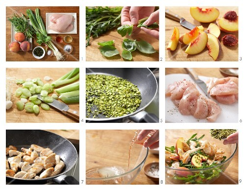 How to prepare peach & rocket salad with pan-fried chicken breast strips