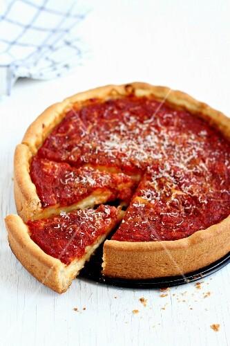 A deep dish pizza