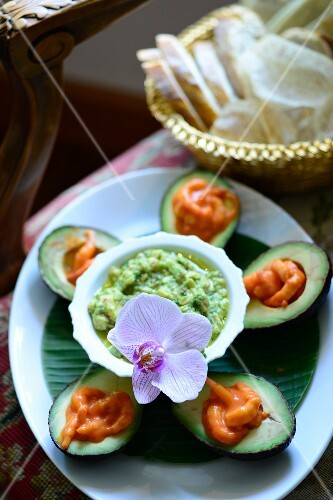 Stuffed avocados with prawns and an avocado dip on a Caribbean buffet