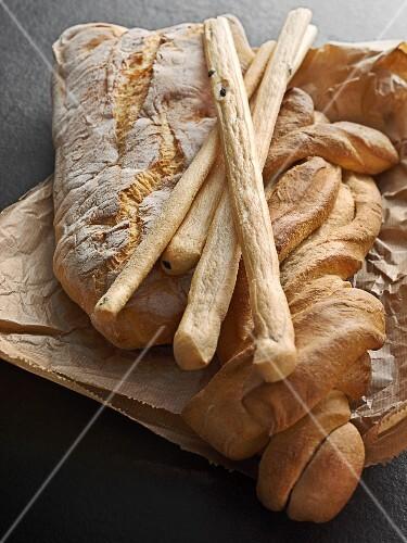 Italian white bread on a paper bag