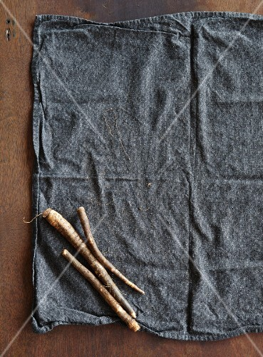 Three fresh black salsify on a cloth (seen from above)