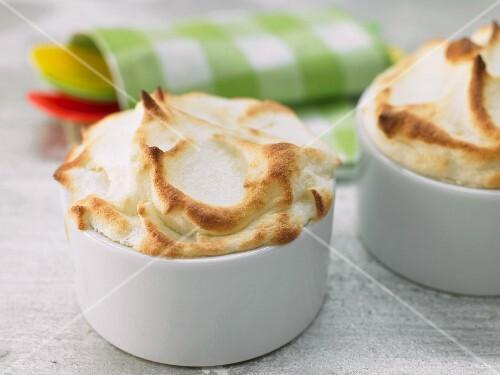 Sweet apple souffles with cinnamon
