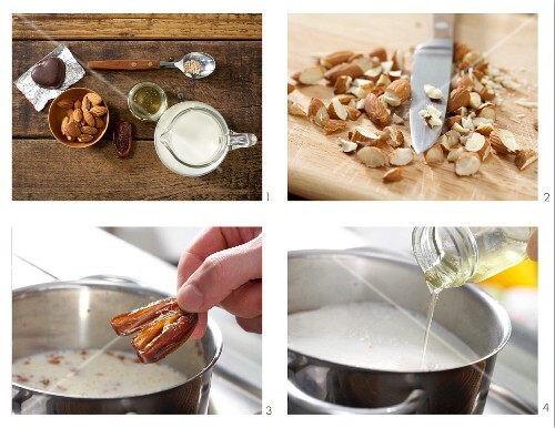 How to prepare hot almond milk with chocolate hearts