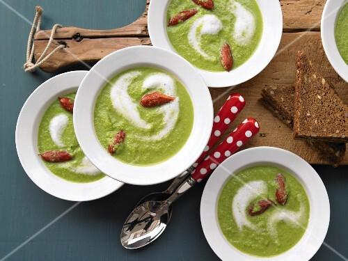 Pea soup with mini cabanossi