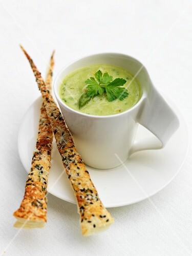 Asparagus soup with Parmesan straws
