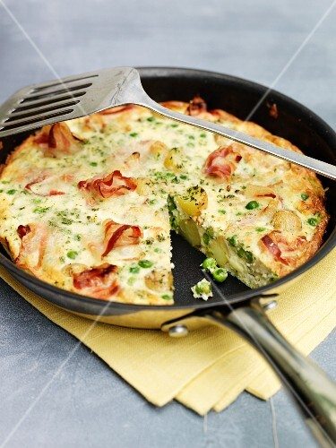 Bacon frittata in a frying pan