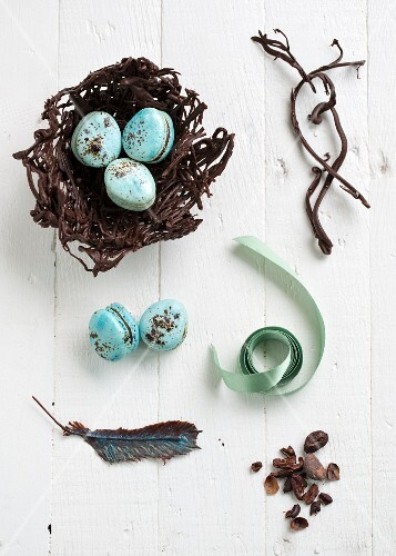 An easter nest with macarons, chocolate feathers and cocoa nibs