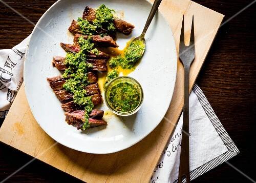 Grilled skirt steak with chimi-churri sauce