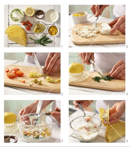 How to prepare tacos with sheep's cheese, sweetcorn and cocktail tomatoes
