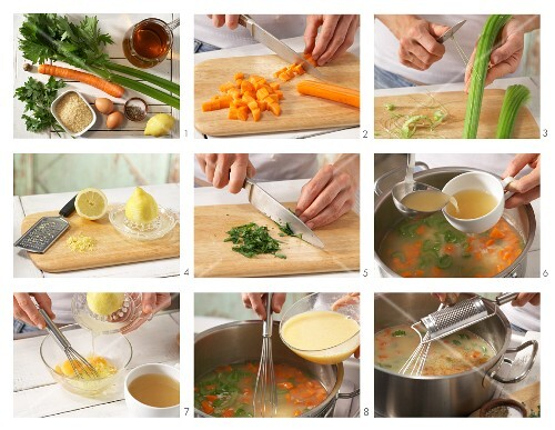 How to prepare Greek rice soup with carrots and celery