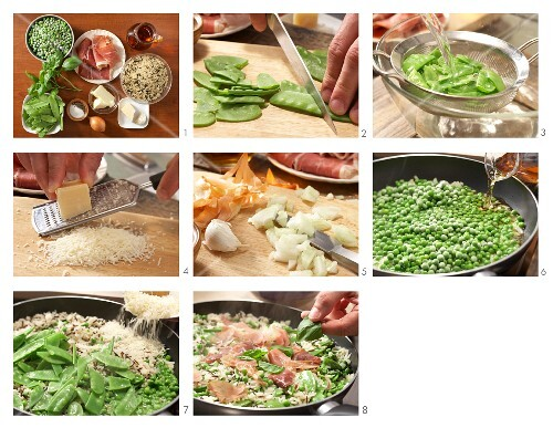 How to prepare wild rice with peas and Parma ham