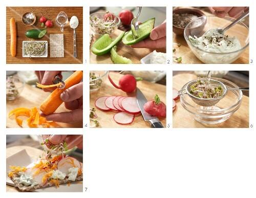 How to prepare crispbread with cucumber quark and radish
