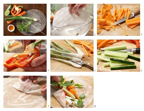 How to prepare rice paper rolls with vegetables