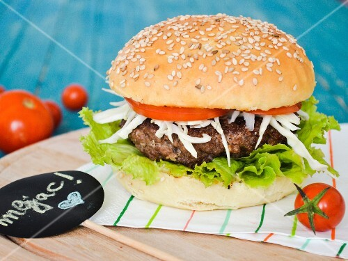A home-made beef burger