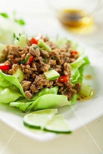 Minced meat on a bed of lettuce