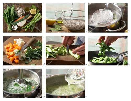 How to prepare asparagus soup with beans and wild garlic