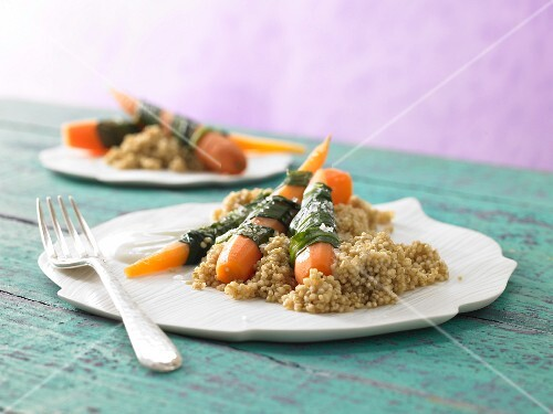 Steamed wild garlic & carrots with quinoa