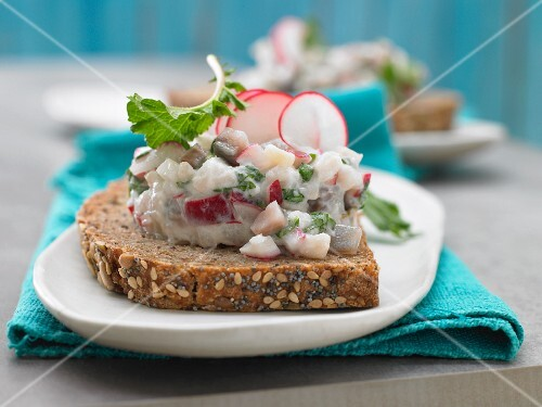 Soused herring tartare with radish on bread