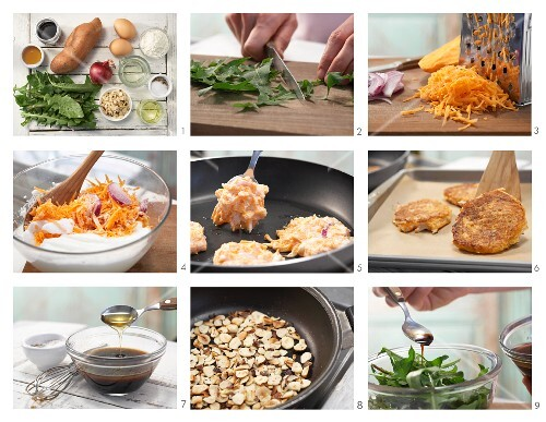 How to prepare sweet potato fritters with dandelion leaves and nuts