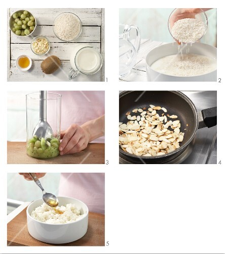 How to prepare creamed rice with kiwi sauce