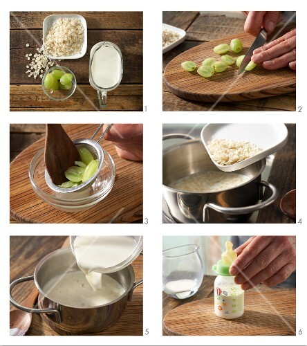 How to prepare creamed rice with grapes in a baby bottle