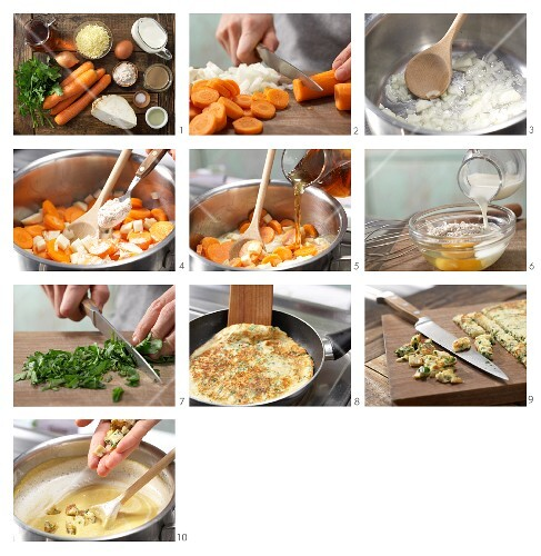 How to prepare carrot soup with pancake chunks